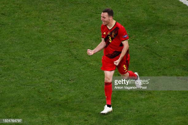 Thomas Vermaelen of Belgium celebrate their side's first goal, an own goal by Lukas Hradecky of Finland during the UEFA Euro 2020 Championship Group...