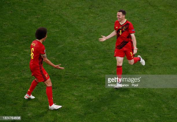 Thomas Vermaelen of Belgium celebrates their side's first goal, an own goal by Lukas Hradecky of Finland with Axel Witsel during the UEFA Euro 2020...