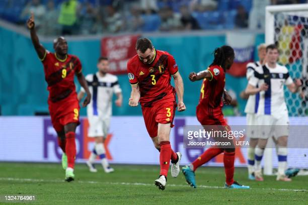 Thomas Vermaelen of Belgium celebrates their side's first goal, an own goal by Lukas Hradecky of Finland during the UEFA Euro 2020 Championship Group...