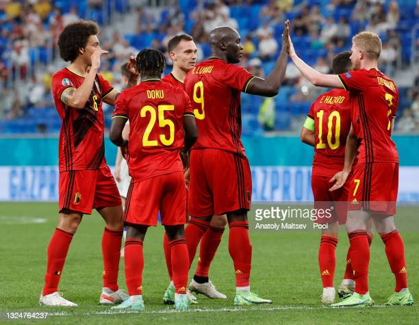 Thomas Vermaelen of Belgium celebrates with team mates after scoring their side's first goal during the UEFA Euro 2020 Championship Group B match...