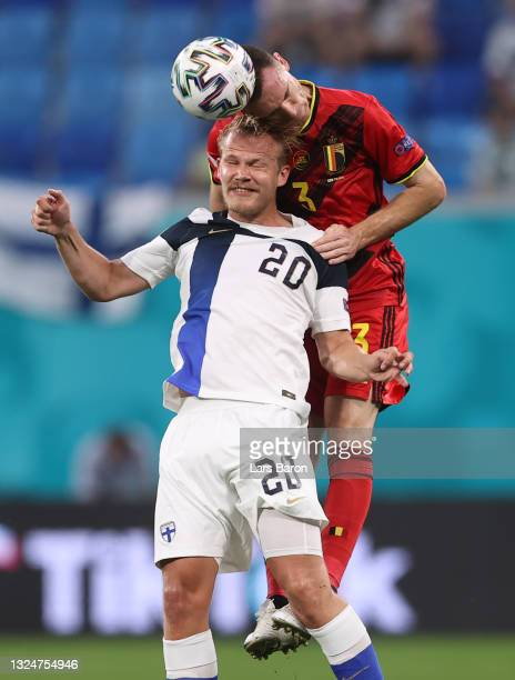 Thomas Vermaelen of Belgium competes for a header with Joel Pohjanpalo of Finland during the UEFA Euro 2020 Championship Group B match between...