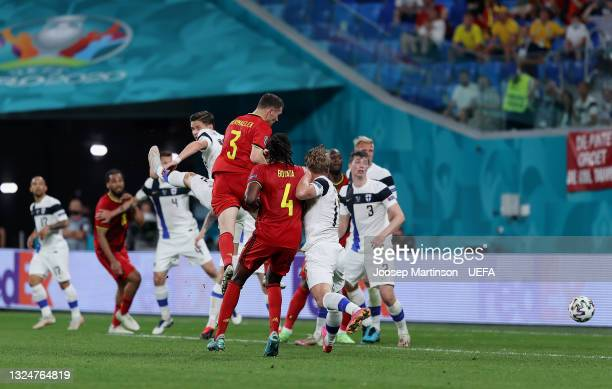 Thomas Vermaelen of Belgium headers on target, before Lukas Hradecky of Finland then scores an own goal, Belgium's first goal during the UEFA Euro...