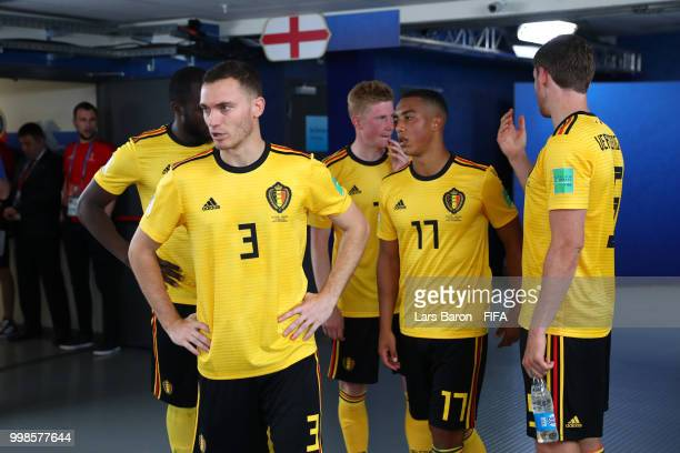 Thomas Vermaelen of Belgium looks on from the tunnel at half time during the 2018 FIFA World Cup Russia 3rd Place Playoff match between Belgium and...