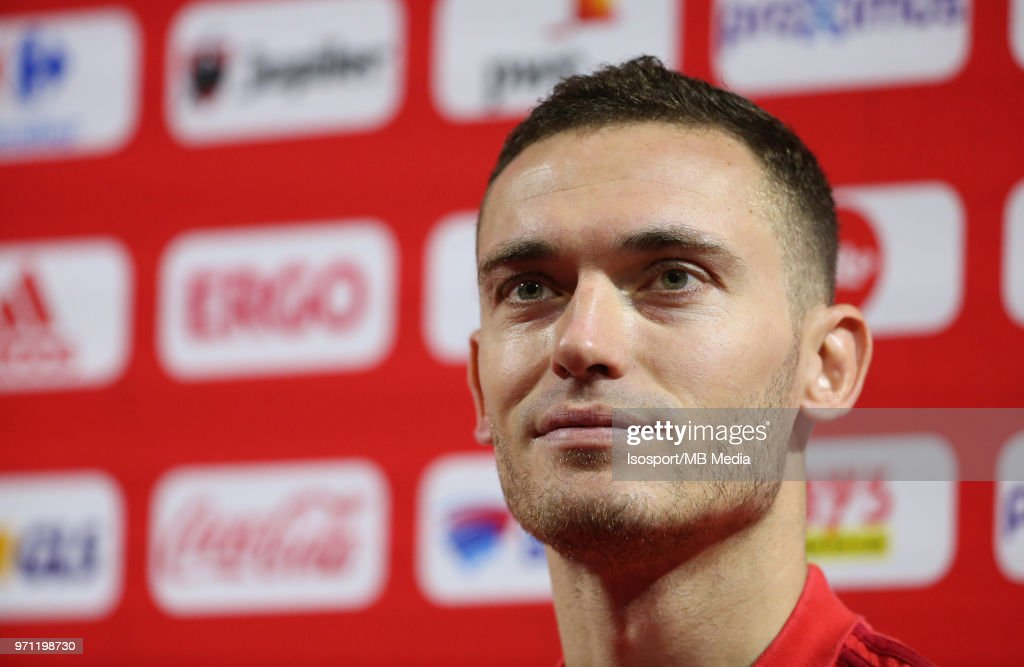 Thomas VERMAELEN talks to the press after a training session of the Belgian national soccer team ' Red Devils ' at the Belgian National Football Center, as part of preparations for the 2018 FIFA World Cup in Russia, on June 4, 2018 in Tubize, Belgium. Photo by Vincent Van Doornick - Isosport