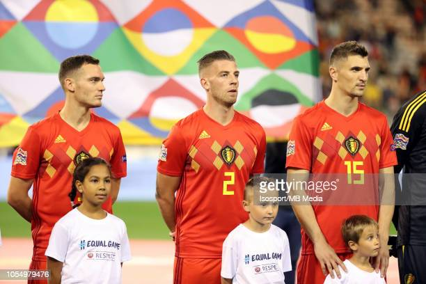 Thomas Vermaelen Toby Alderweireld and Thomas Meunier pictured during the UEFA Nations League A group two match between Belgium and Switzerland at...