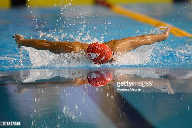 Thomas Vilaceca of France competes in the 200m Men's butterfly on day three of the French National Swimming Championships on March 31 2016 in...