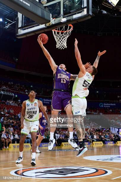 Thomas Vodanovich of the Kings lays up the ball during the round 14 NBL match between the Sydney Kings and South East Melbourne Phoenix at Qudos Bank...