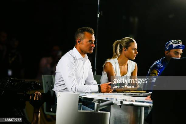 Thomas Voeckler and Marion Rousse during the Stage 21 of Tour de France from Rambouillet to Paris Champs Elysees on July 28 2019 in Paris France