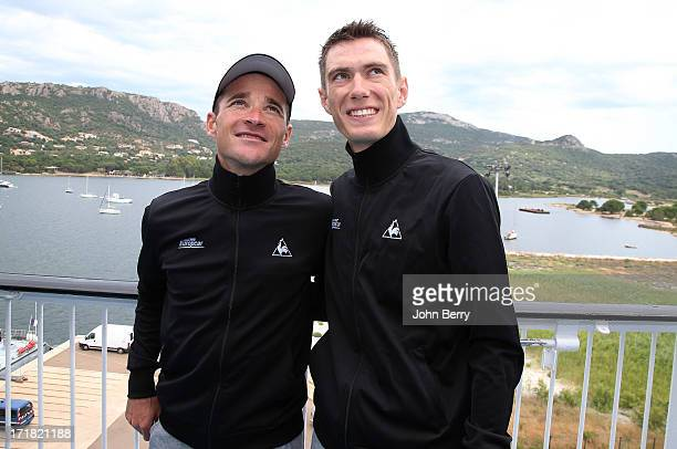 Thomas Voeckler and Pierre Rolland both of France and Team Europcar pose during a press day on the eve of the start of the Tour de France 2013 on...
