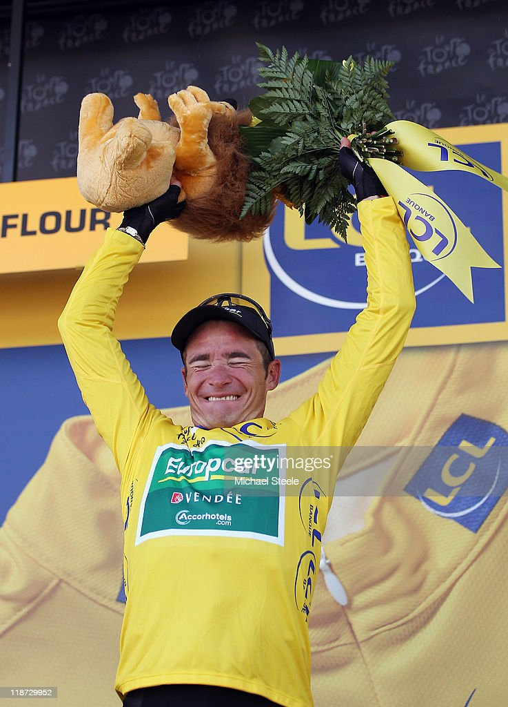 Thomas Voeckler of France and Team Europcar claims the yellow jersey after finishing in second place during Stage 9 of the 2011 Tour de France from Issoire to Saint-Flour on July 10, 2011 in Saint-Flour, France.