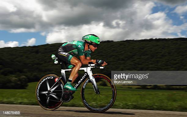 Thomas Voeckler of France and Team Europcar in action during stage nine of the 2012 Tour de France, a 41.5km individual time trial, from...