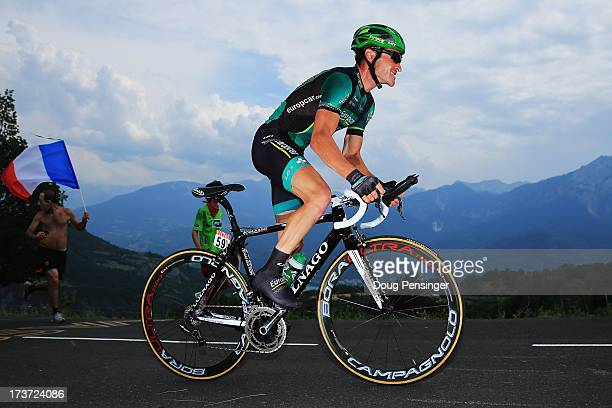 Thomas Voeckler of France and Team Europcar rides during stage seventeen of the 2013 Tour de France, a 32KM Individual Time Trial from Embrun to...