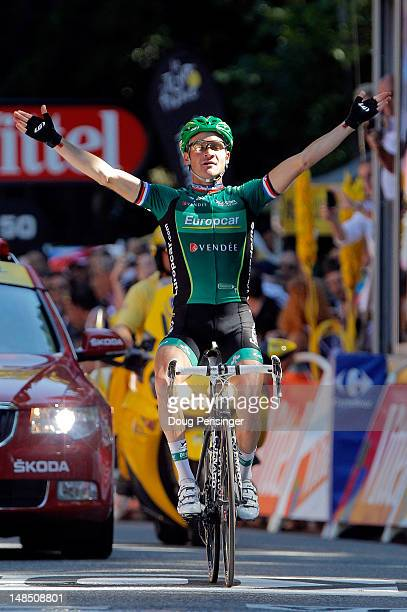 Thomas Voeckler of France riding for Europcar celebrates as he wins stage sixteen of the 2012 Tour de France from Pau to Bagneres-de-Luchon on July...
