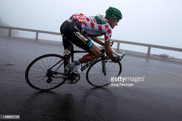 Thomas Voeckler of France riding for Europcar descends the Col de Mente as he defended the king of the mountains polka dot jersey during stage...