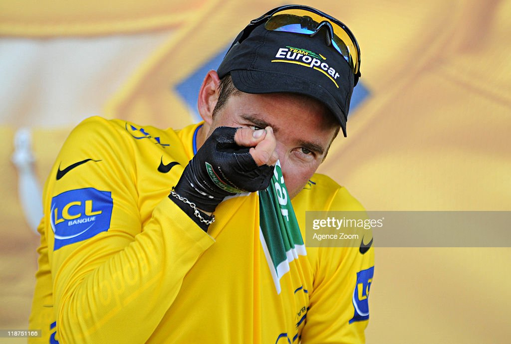 Thomas Voeckler of Team Europcar during Stage 9 of the Tour de France on July 10, 2011 from Issoire to Saint-Flour, France.