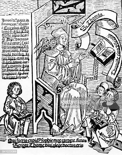 Thomas von Aquin*um122507031274Dominikaner Theologe Philosoph Kirchenheiliger aus Latium als Lehrer mit drei Schuelern der Heilige Geist in Form...