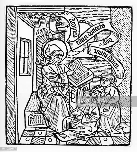 Thomas von Aquin*um122507031274Dominikaner Theologe Philosoph Kirchenheiliger aus Latium mit zwei SchuelernHolzschnitt aus Cato cum glossa et...