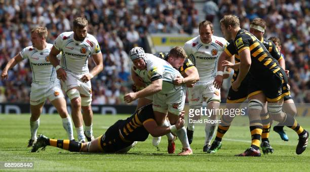 Thomas Waldrom of Exeter Chiefs breaks through the defensive line during the Aviva Premiership Final between Wasps and Exeter Chiefs at Twickenham...