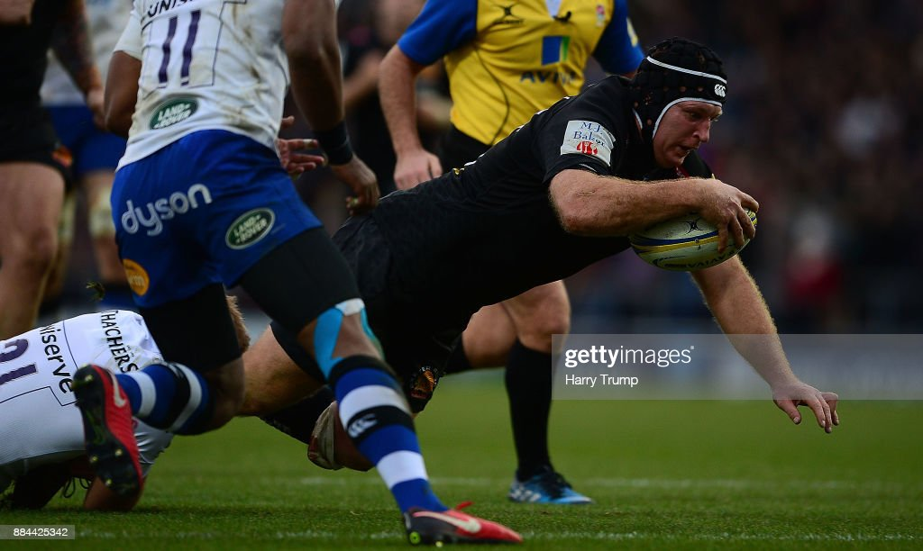Thomas Waldrom of Exeter Chiefs goes over for his sides fifth try during the Aviva Premiership match between Exeter Chiefs and Bath Rugby at Sandy Park on December 2, 2017 in Exeter, England.