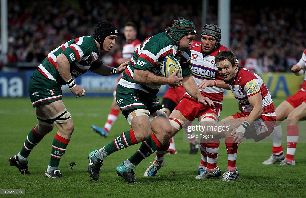 Thomas Waldrom of Leicester charges upfield during the Aviva Premiership match between Gloucester and Leicester Tigers at Kingsholm on October 30, 2010 in Gloucester, England.