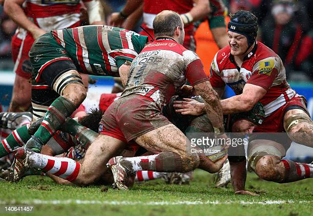 Thomas Waldrom of Leicester Tigers is tackled during the Aviva Premiership match between Leicester Tigers and Gloucester at Welford Road on March 4...