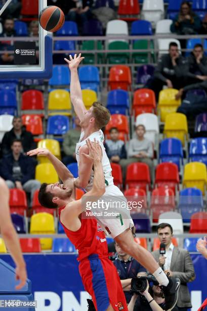Thomas Walkup #7 of Zalgiris Kaunas competes with Alec Peters #5 of CSKA Moscow in action during the 2018/2019 Turkish Airlines EuroLeague Regular...