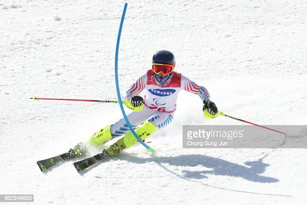 Thomas Walsh of United States competes in the Alpine Skiing Men's Slalom Standing during day eight of the PyeongChang 2018 Paralympic Games on March...