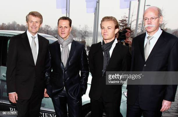 Thomas Weber member of the Daimler AG chairman's board Formula One Champion Michael Schumacher Nico Rosberg and Dieter Zetsche chairman of Daimler AG...