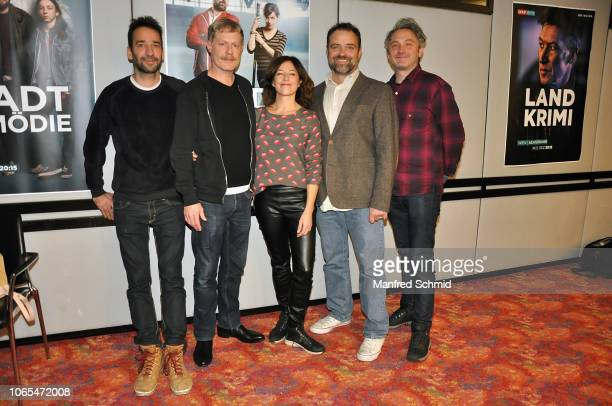 Thomas Weingartner Andreas Lust Julia Cencig and Juergen Maurer pose during the 'Landkrimi Stadkomoedien' photo call at ORF Zentrum on November 26...