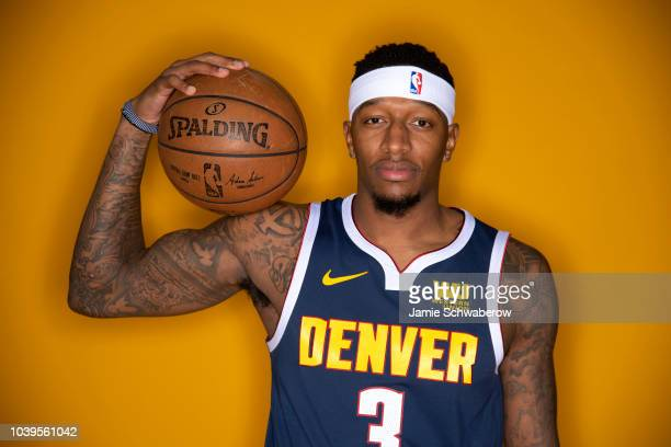 Thomas Welsh of the Denver Nuggets poses for a portrait during the Denver Nuggets Media Day at the Pepsi Center on September 24 2018 in Denver...
