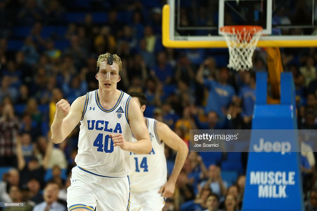 Thomas Welsh #40 of the UCLA Bruins reacts to a point in the second half of the Colorado v UCLA game at Pauley Pavilion on January 13, 2018 in Los Angeles, California.