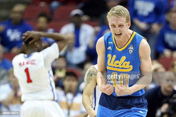 Thomas Welsh of the UCLA Bruins reacts towards the end of the game against the Southern Methodist Mustangs during the second round of the 2015 NCAA...