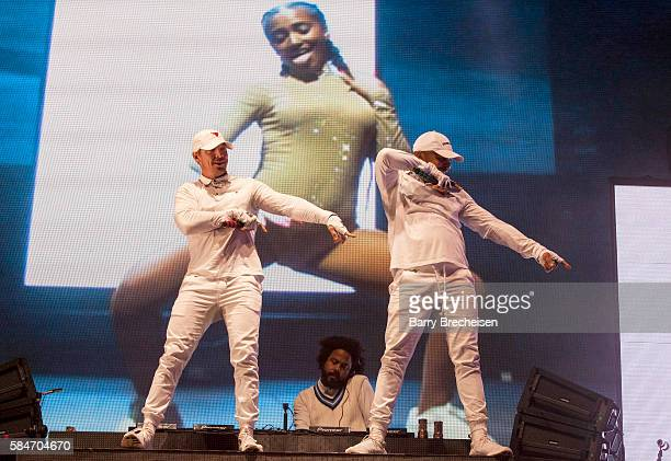 Thomas Wesley Pentz aka Diplo Christopher Leacock aka Jillionaire and Leighton Walsh aka Walshy Fire of Major Lazer perform during 2016 Lollapalooza...
