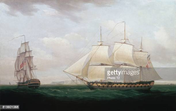 Thomas Whitcombe British painter Two East Indiamen off a Coast Oil on canvas At this time the East India Company still governed India