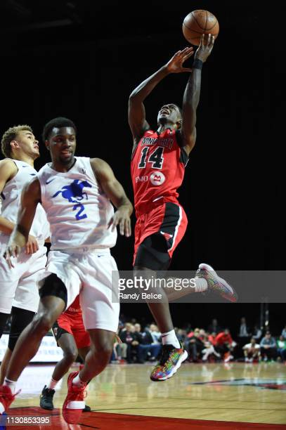 Thomas Wilder of the Windy City Bulls goes to the basket over Keenan Evans of the Delaware Blue Coats during an NBA GLeague game on March 15 2019 at...