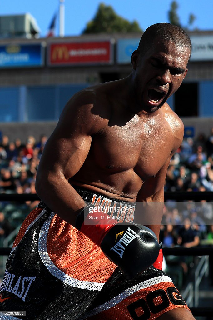 Thomas Williams Jr. reacts to knocking out Edwin Rodriguez during a light heavyweight fight at StubHub Center on April 30, 2016 in Carson, California.