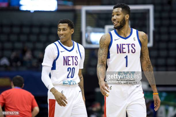 Thomas Wimbush and Kendall Gray of the Long Island Nets look on during the game against the Greenboro Swarm Long Island Nets vs Greensboro Swarm...