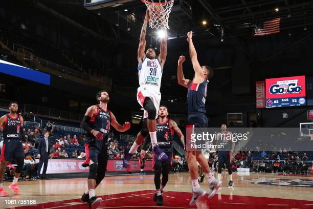 Thomas Wimbush of the Long Island Nets against Chris Chiozza of the Capital City GoGo during an NBA GLeague game at the Entertainment and Sports...