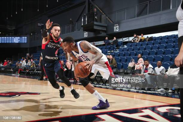 Thomas Wimbush of the Long Island Nets drives against Chris Chiozza of the Capital City GoGo during an NBA GLeague game at the Entertainment and...