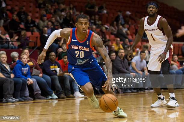 Thomas Wimbush of the Long Island Nets handles the ball against the Canton Charge on November 25 2017 at the Canton Memorial Civic Center in Canton...