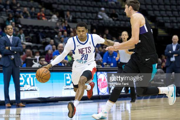 Thomas Wimbush of the Long Island Nets handles the ball against the Greenboro Swarm Long Island Nets vs Greensboro Swarm during an NBA GLeague game...