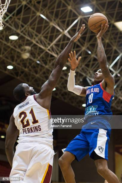 Thomas Wimbush of the Long Island Nets shoots the ball against the Canton Charge on November 25 2017 at the Canton Memorial Civic Center in Canton...