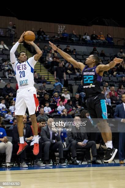 Thomas Wimbush of the Long Island Nets shoots the ball against the Greenboro Swarm Long Island Nets vs Greensboro Swarm during an NBA GLeague game on...