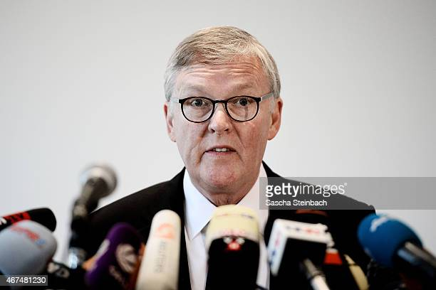 Thomas Winkelmann chief executive officer of Germanwings looks on during a press conference on March 25 2015 in Cologne Germany Flight 4U 9525...