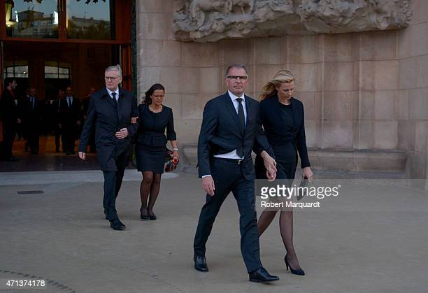 Thomas Winkelmann of Germanwings and CEO Carsten Spohr of Lufthansa are seen leaving the funeral services for Germanwings Flight 9525 held at the...