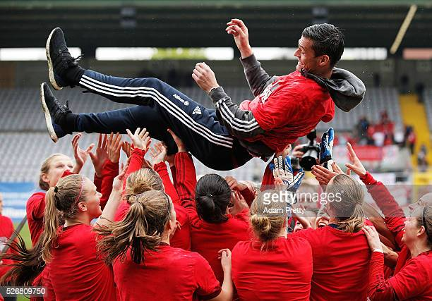 Thomas Woerle head coach of Bayern Munich celebrates after victory in the Women's Bundesliga match at Gruenwalder Street Stadium on May 01 2016 in...