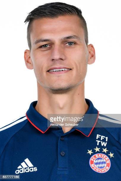 Thomas Woerle of Bayern Muenchen poses during the Allianz Frauen Bundesliga Club Tour at FC Bayern Muenchen Campus on August 20 2017 in Munich Germany