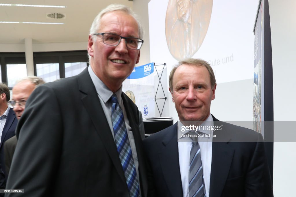 Thomas Wollscheid and Berti Vogts during the awarding ceremony of Hermann-Neuberger-Award on May 19, 2017 in Saarbruecken, Germany.