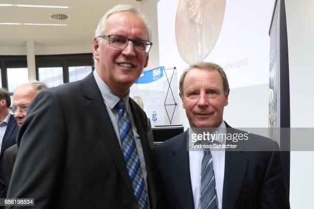 Thomas Wollscheid and Berti Vogts during the awarding ceremony of HermannNeubergerAward on May 19 2017 in Saarbruecken Germany