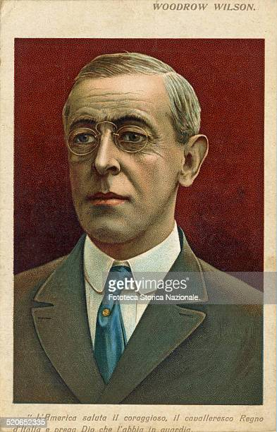 Thomas Woodrow Wilson politician of the United States, Democratic Party, president in 1912 and reelected in 1916. Portrait widespread in Italy as...